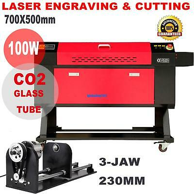 100w Co2 Laser Engraver Cutter Cutting Engraving Machine W 3-jaw Rotary Axis