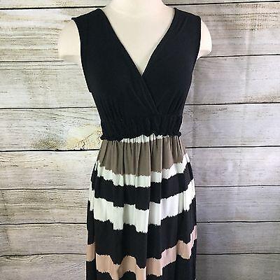 Liz Lange Maternity Maxi Dress Size S Sleeveless Nursing Friendly Black Tan