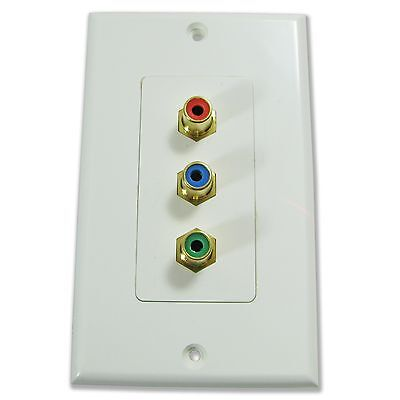 NEW Component video decor decorator style 3RCA RGB wall cable pass through plate