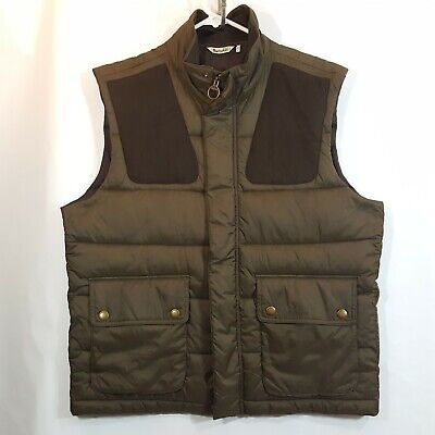 $299 Barbour Green Quilted Leather Vest Gilet Mens XL Colwarmth FibreDown