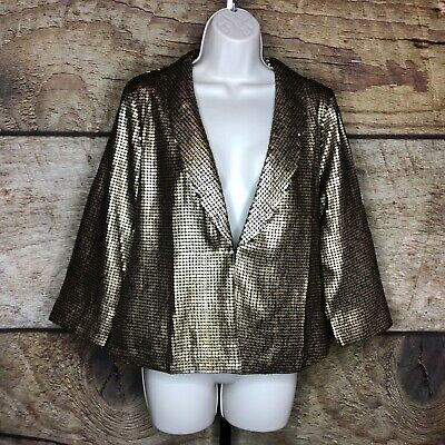 Lace & Mesh Womens Large Sequin Jacket Blazer Gold One Button Funky Modcloth](Gold Sequin Blazer)