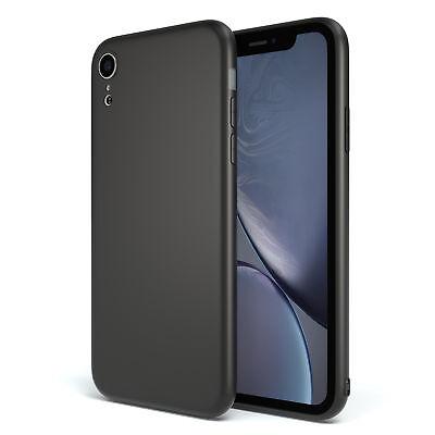 Apple iPhone XR Hülle Case Silikon Cover Schutz Tasche Slim Etui Matt Schwarz Slim Matte
