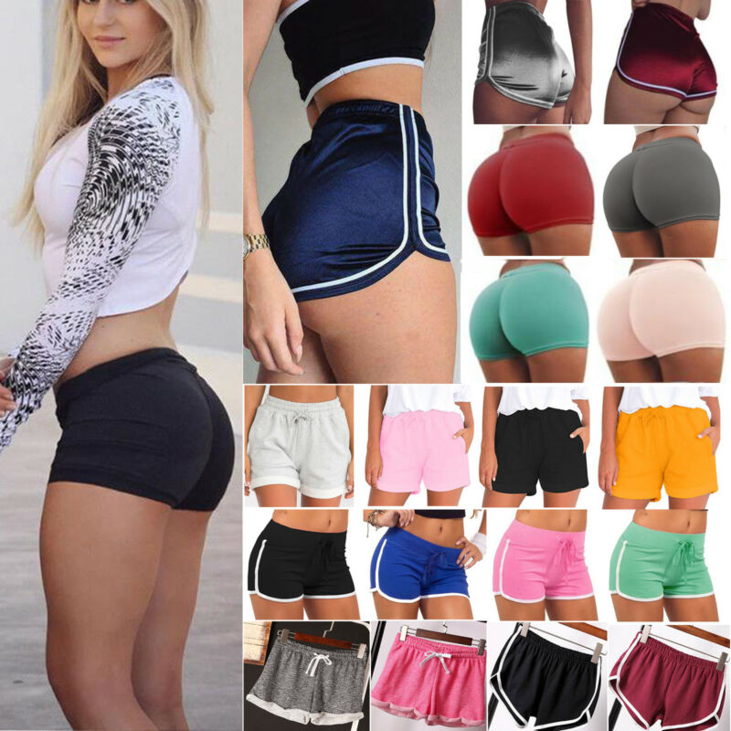 Women Girl Sports Shorts Running Gym Fitness Short Pants Wor