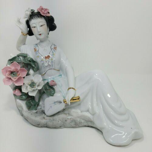 Japanese Geisha Porcelain Figurine Statue Floral Collectors Item