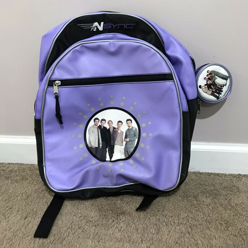 NSYNC Boy Band Backpack W/ Coin Purse Keychain Vintage Winterland 2000 Rare HTF