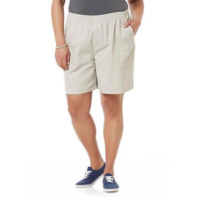 Ladies Womens Elastic Comfort Stretch Waist Shorts / Khaki Tan 2 Pocket Pull-On - Ladies Khaki Shorts