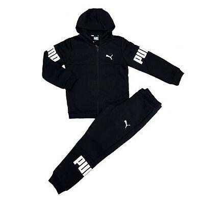 Puma Boys Tracksuit Sweat Pants Top Casual Lounge Joggers Black 855158 01
