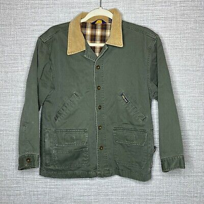 Woolrich John Rich & Bros Boys L 10/12 Green Canvas Jacket Coat Plaid Lining