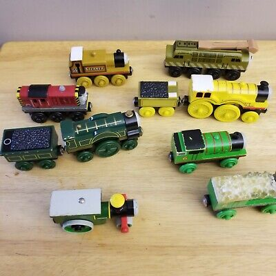 Lot of 8 Wooden Train Thomas Engines frozen percy molly stepney Emily diesel 10