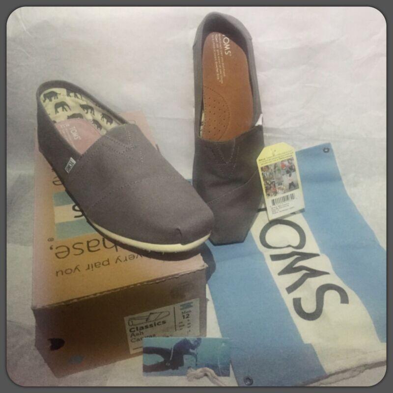 NEW Box TOMS Ash Canvas Men's Classics Gray Slip On Shoes 12 US & dust bag $48