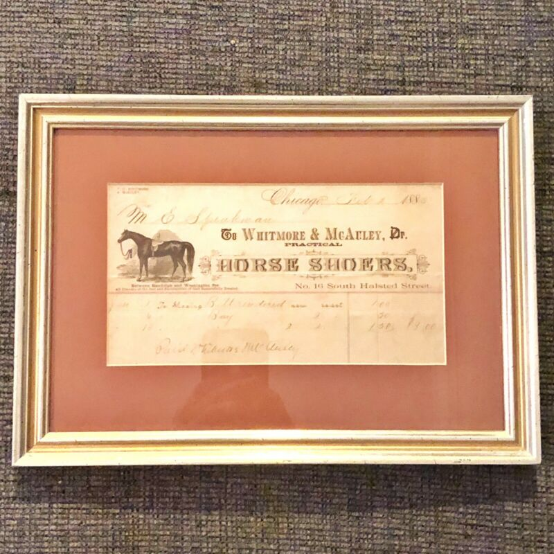 1885 Antique Horse Shoers Receipt - Framed Vet Papers - Decor Farming Barn Old