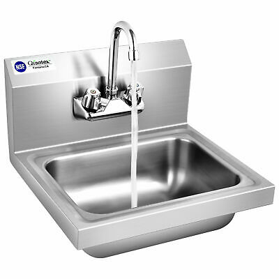 Topbuy Stainless Steel Sink Nsf Wall Mount Hand Washing Sink W Faucet