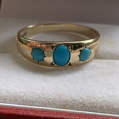 Vintage Antique Gypsy Style 9ct Yellow Gold Turquoise Set Band Ring Size O/P