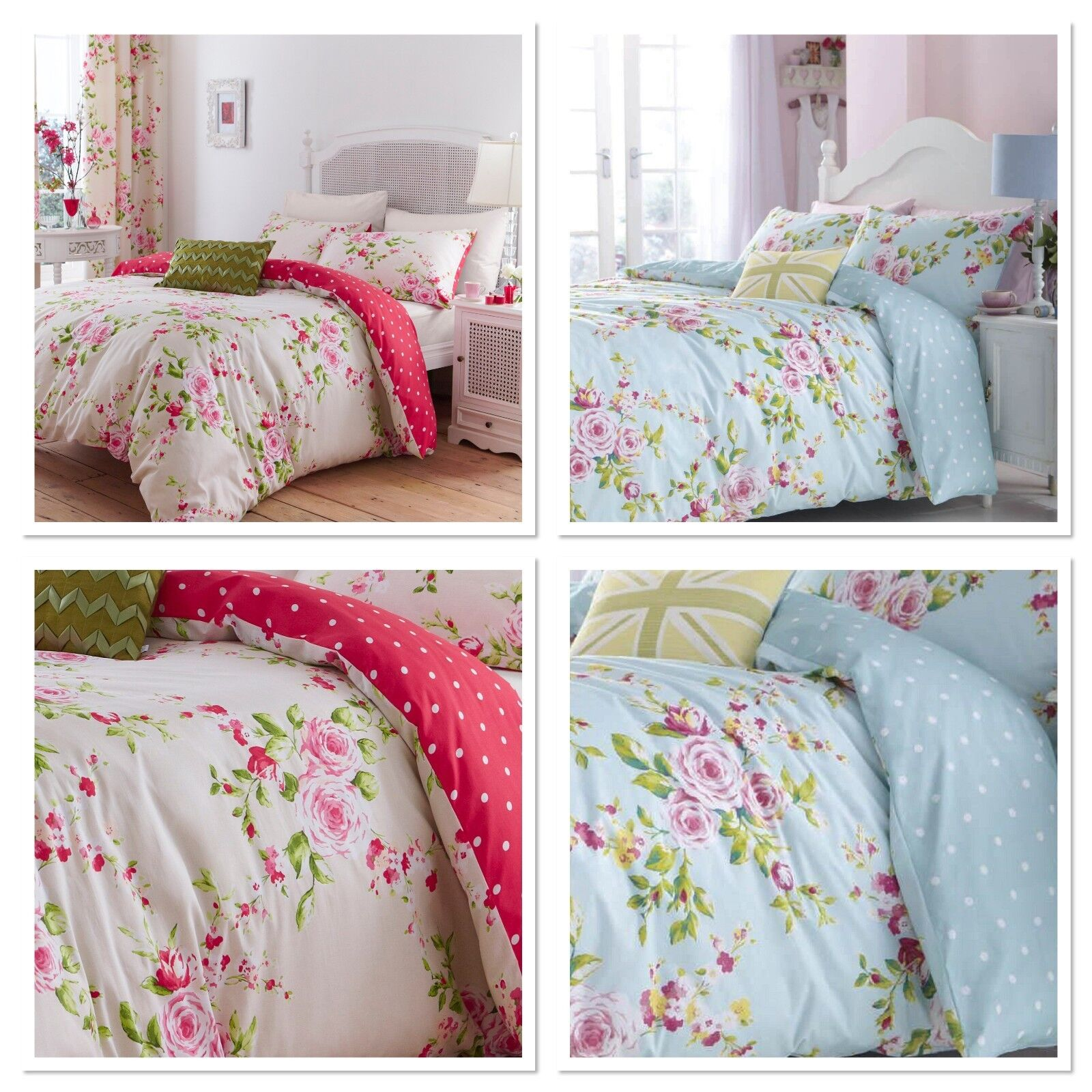 Catherine Lansfield Canterbury Floral Duvet Cover Set Red or Multi//Blue