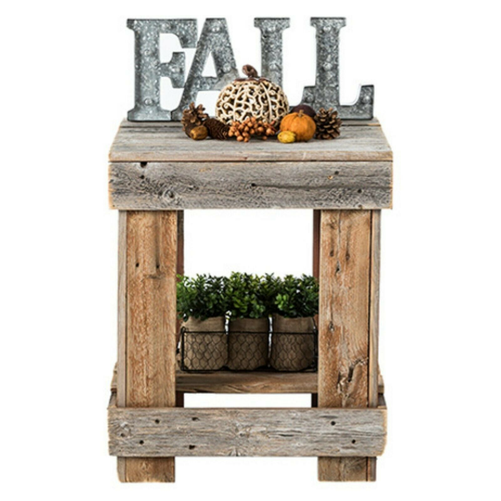 Rustic Farmhouse Square Sofa Side Table Living Room Lamp Decor Vase Stand Brown Ebay