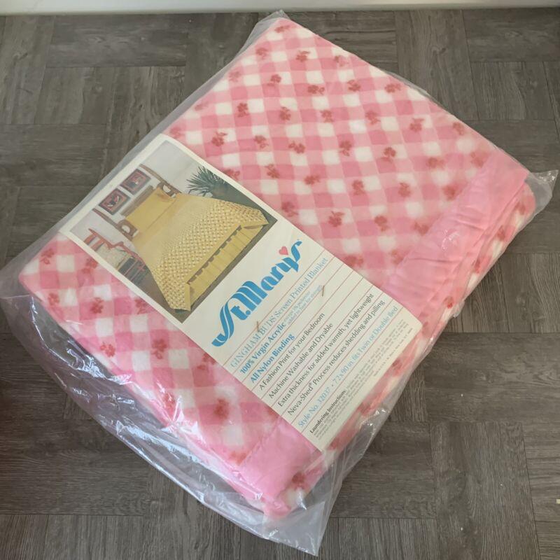 NEW Vintage St Marys Salmon Pink Satin Edge Gingham Buds Girls Rom  72 x 90 twin