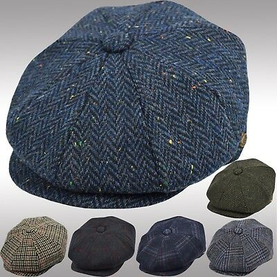 Men's 100% Wool Herringbone Newsboy Cap Driving Cabbie Tweed Applejack Hat