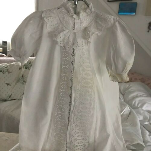Antique English Lacy Eyelet Baby Christening Gown
