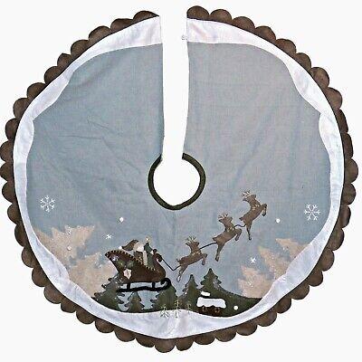 Vintage Felt Applique Santa and Reindeer 46 inch Dusty Blue Christmas Tree Skirt