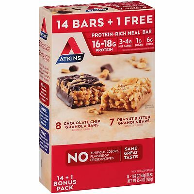 Atkins® Chocolate Chip & Peanut Butter Granola Bars Variety Pack 15 ct Box (Atkins Bars Peanut Butter Granola)