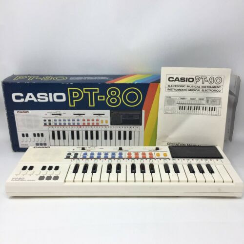 Vintage Casio PT-80 Keyboard Synthesizer w/ RO-551 World Songs Tested & Working