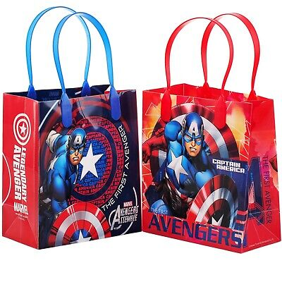 12PCS Marvel Avengers Captain America Goodie Party Favor Gift Birthday Loot Bags - Avenger Party