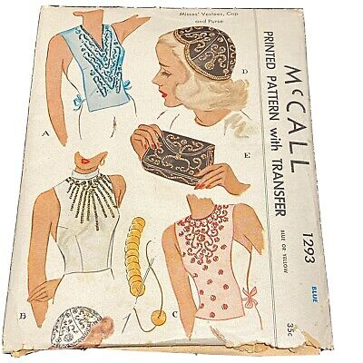1940s Handbags and Purses History Vintage 1940s McCall Sewing Pattern 1293 Sequin Cap Purse Vestees dated 1946 PT3 $21.95 AT vintagedancer.com