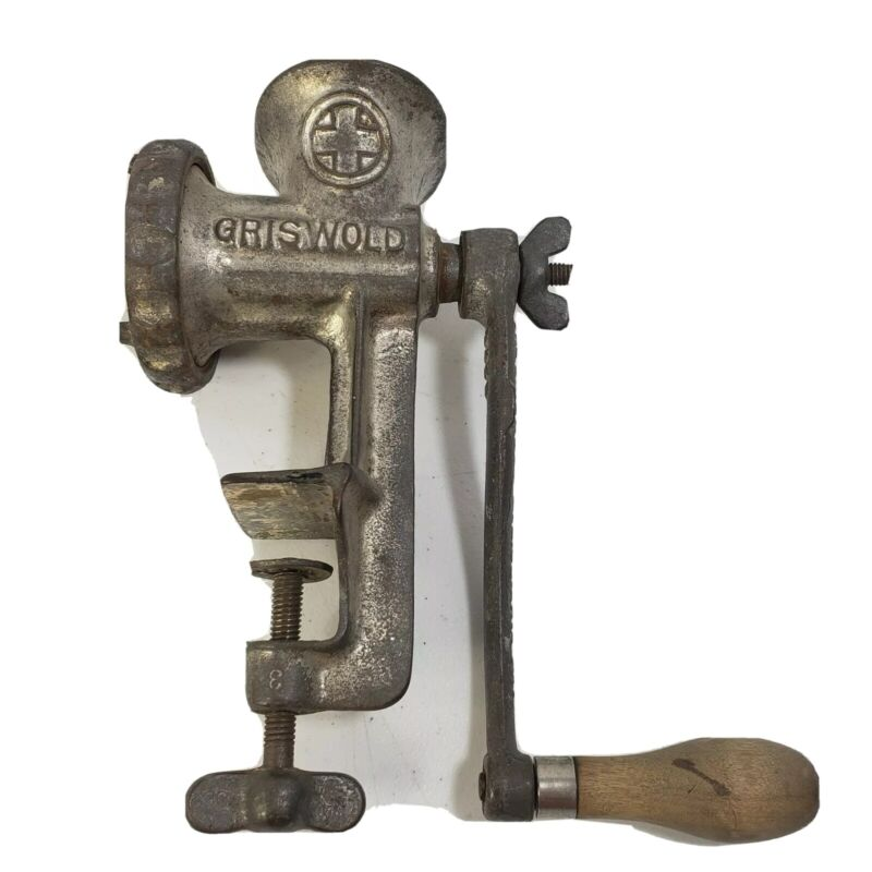 Griswold Cast Iron Meat Grinder 450 No.1 with Attachments & Vise Base