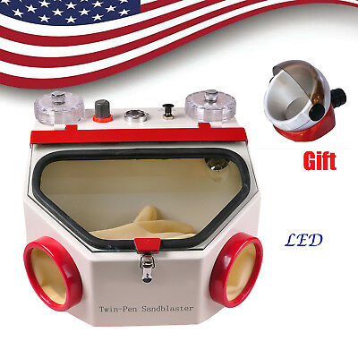 Dental Double Pen Sand Blaster Sandblaster Unit With Led Machine Suction Base