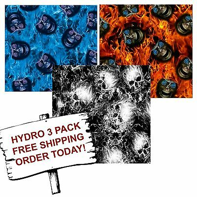 Hydrographic Film Water Transfer Printing Film Hydro Dip Evil Flames 3 Pack