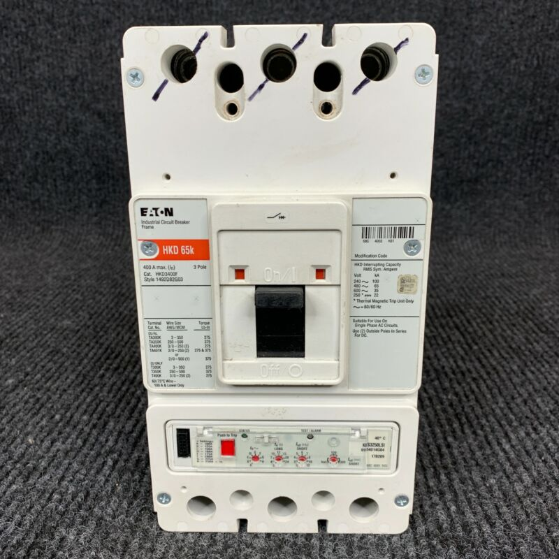 Genuine Eaton HKD3400F HKD 65k 3-Pole 400 Amp Max Industrial Circuit Breaker