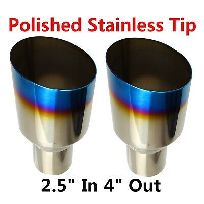 2X Blue Burnt Exhaust Single Layer Slant Tip Polished Stainless 2.5