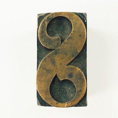 Vintage Wood Copper 1-in Letter S Printer Block Printing Letterpress Stamp S1