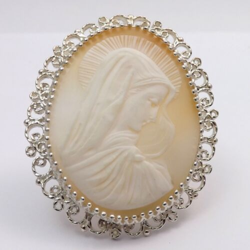 New Rare Madonna Mother Mary Shell Cameo Brooch Pin Pendant Sterling Silver