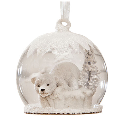 Bethany Lowe Glitter Polar Bear Snow Globe Christmas Retro Vntg Decor Ornament