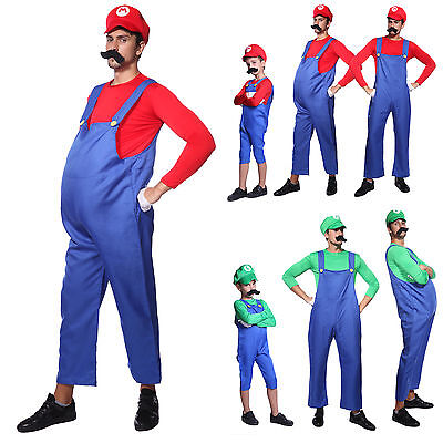 Mens Boys Super Mario Luigi Bros Fancy Dress Plumber Workman Uniform Costumes