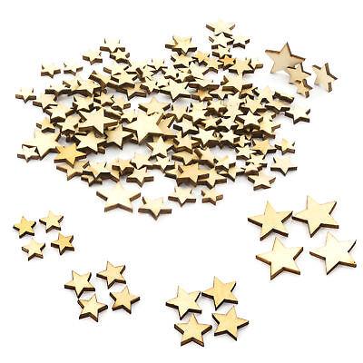 100 Gemischte Holz Sterne Stücke Mini Holz Dekoration Verzierungen Weihnachten