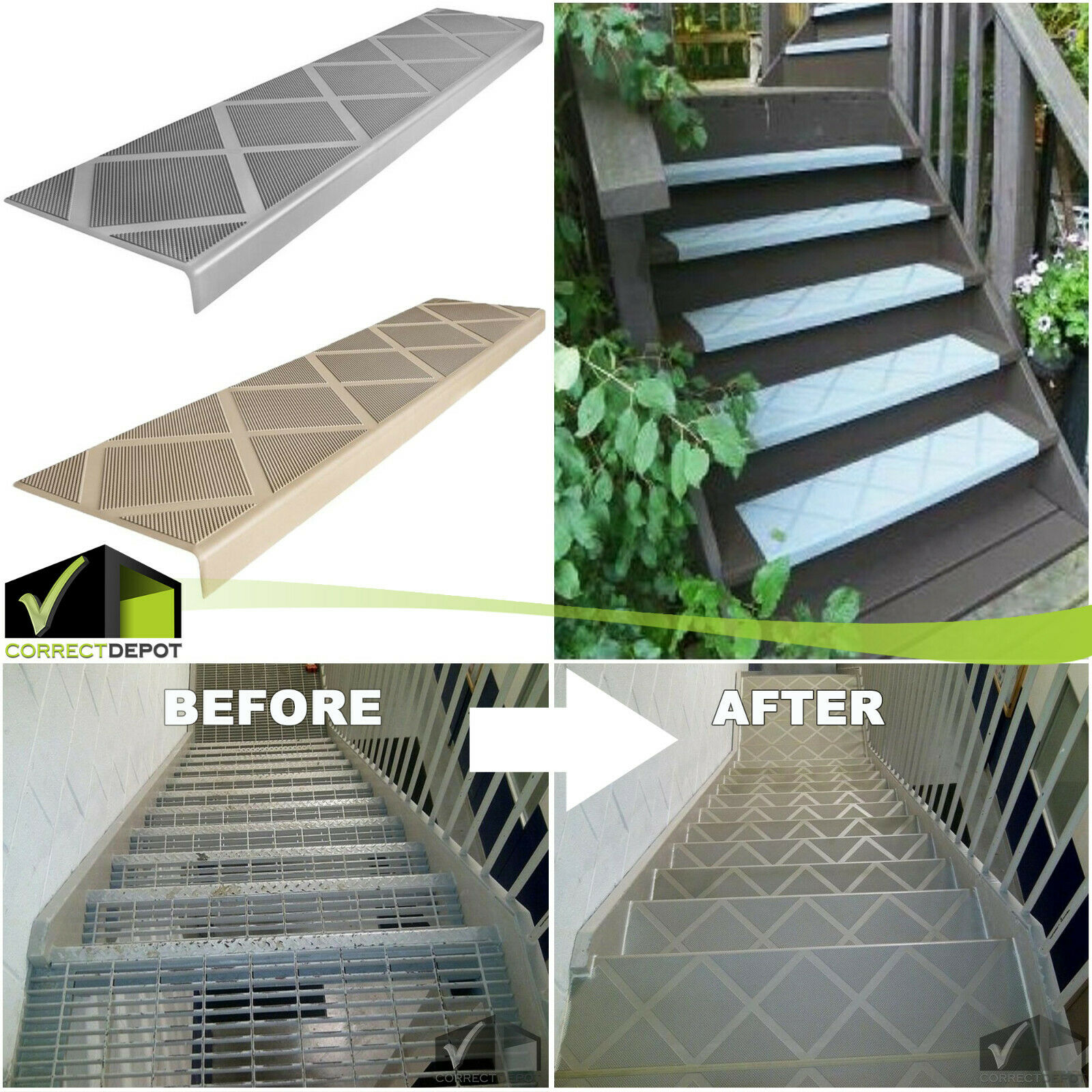 "Details about Anti-Slip Stair Tread Composite 25"" Step Cover Indoor And  Outdoor Safe Stairwway"