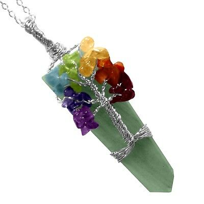 Green Jade Crystal Tree Of Life 7 Chakra Pendant Necklace Handmade Wire Wrap Gem