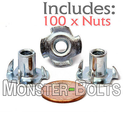 14-20 X 716 Qty 100 4 Prong Tee Nut Straight Barrel Zinc Plated T-nut