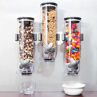 Lot of Zevro WM300 Smart Space Wall Mount Triple Canister Dry Food Dispenser ()