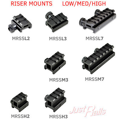Riser Scope Mount - Riser Mount for Scope / Accessory- Low Medium High Profile 2 3 7 Picatinny Slots