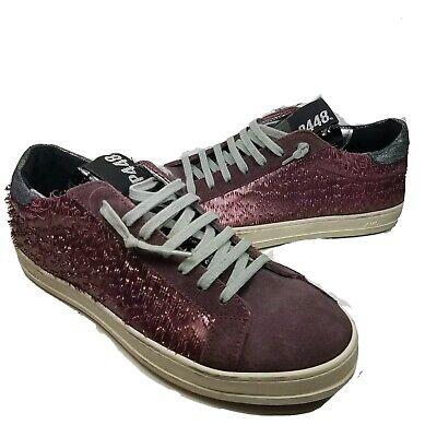 P448 John Women sneakers Lace Up Low Top wine Bordeaux leather