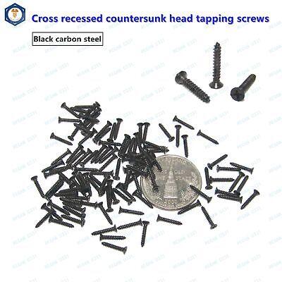 M1 M1.2 M1.4 M1.7 Black Small Phillips Cross Countersunk Head Self Tapping Screw