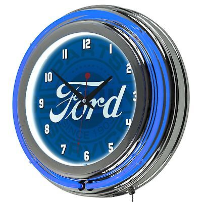 ford chrome double rung neon clock ford