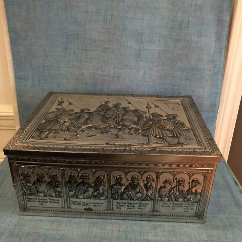 "VINTAGE  Tin Box with Hinged Lid And Embossed  ""Old English""Design 12""x9""x5"