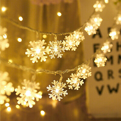 Snowflake LED String Fairy Lights Battery Operated Christmas Wedding Party Decor Led Lighted Snowflake