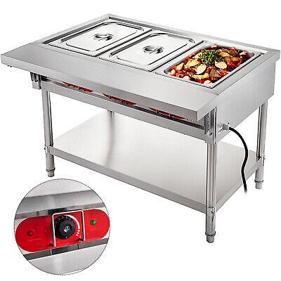 Steam Table Food Warmer Buffet 3 Pans Steamer Bain Marie Restaurant 110v 2250w
