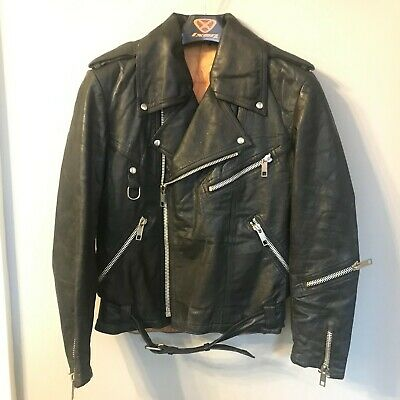 VINTAGE 80'S DISTRESSED LEATHER BRANDO MOTORCYCLE JACKET SIZE EU 48 UK S