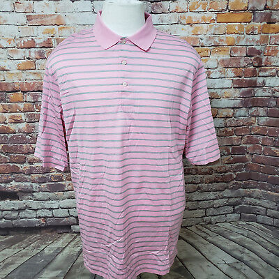 Polo Golf Ralph Lauren Rosa Gestreift Mercerisierte Baumwolle Polo-shirt Größe L - Mercerisierte Baumwolle Golf Shirt